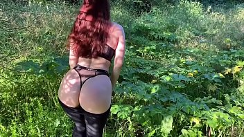 What fucking sexy redhead amateur in a forest - porn